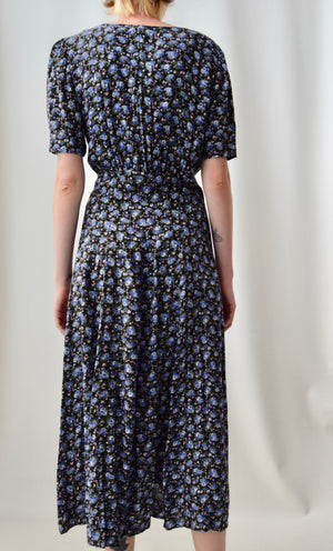 90's Does 40's Blue Floral Dress