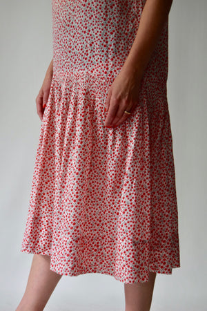 Vintage 1920's/1930's Cotton Cherry Novelty Print Dress FREE SHIPPING