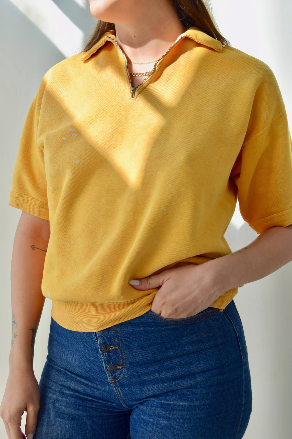 "Vintage ""Southern"" Sunny Yellow Short Sleeve Sweatshirt FREE SHIPPING TO THE U.S."