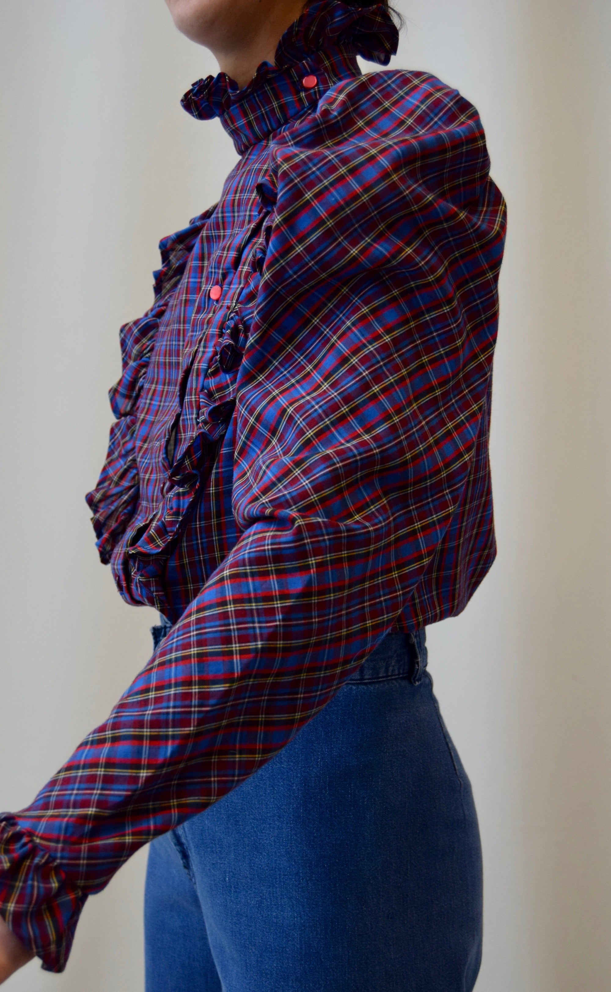 Edwardian Inspired Ruffled Plaid Blouse