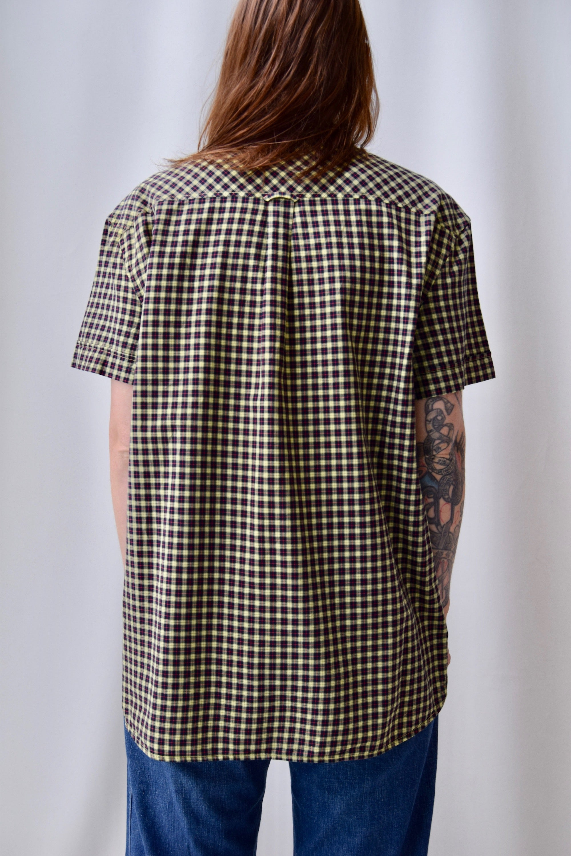 Balmain Plaid Short Sleeve Button Up
