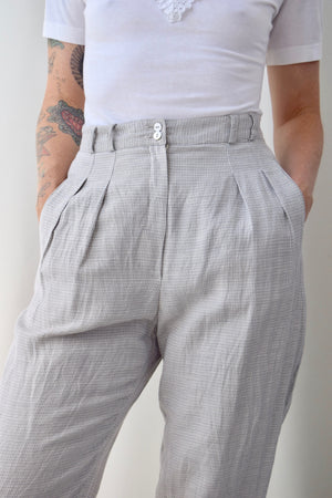 Micro Plaid Linen Trousers