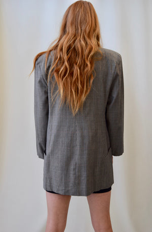 Steel Houndstooth Wool Blazer