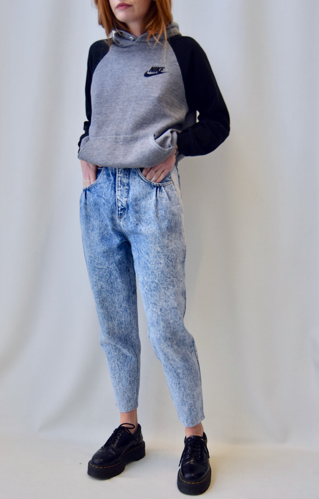 Acid Wash Tapered Jeans