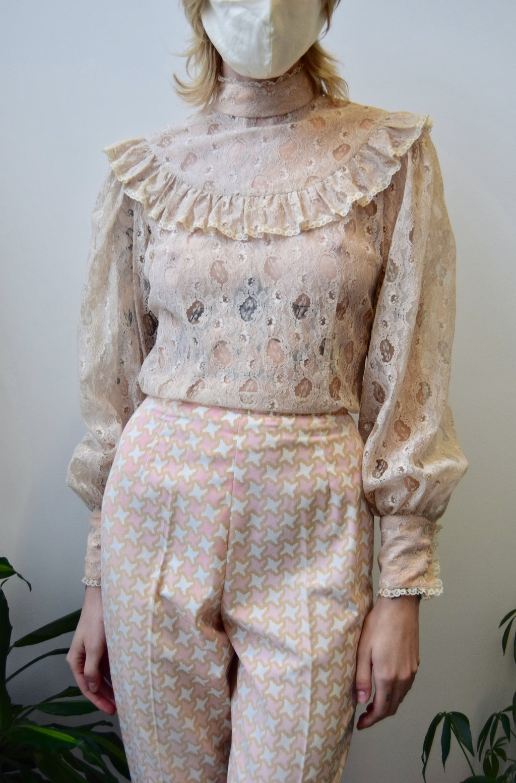Blush Lace Ruffle Blouse