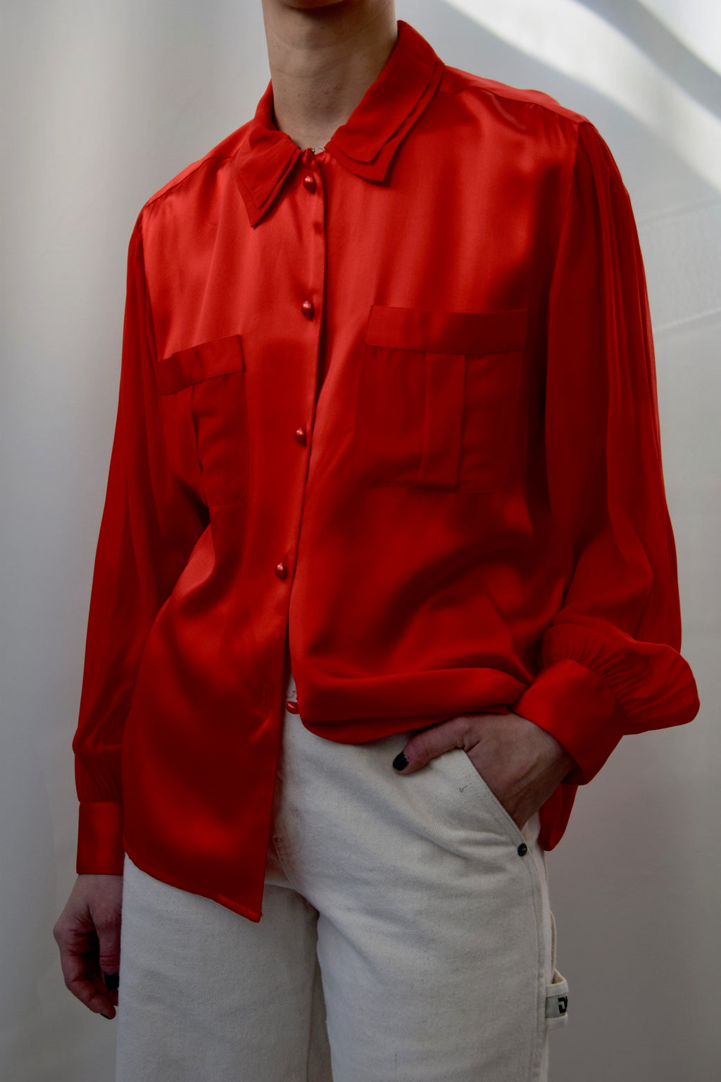 Crimson Red Satin and Sheer Silk Blouse FREE SHIPPING TO THE U.S.