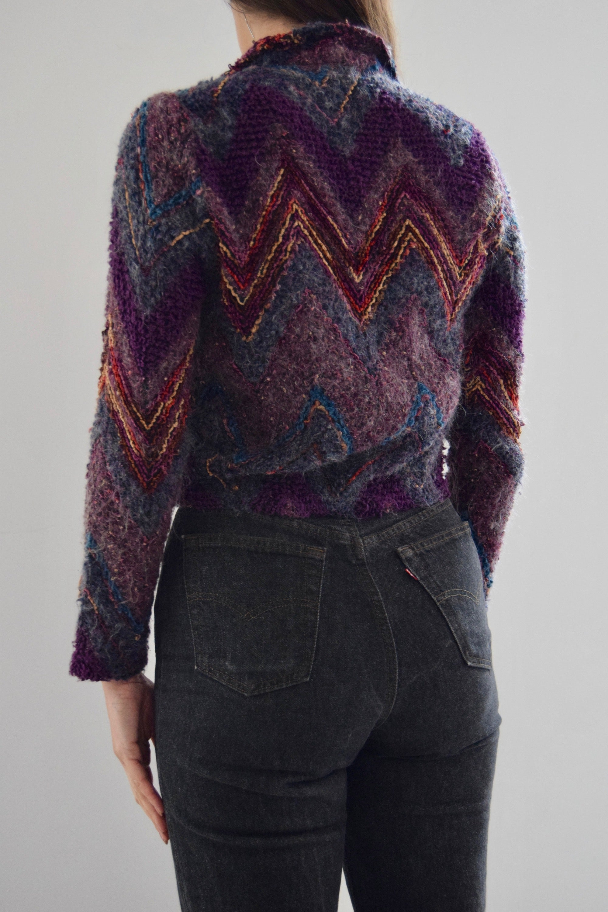 Vintage Zig Zag Purple Texture Collared Cardigan