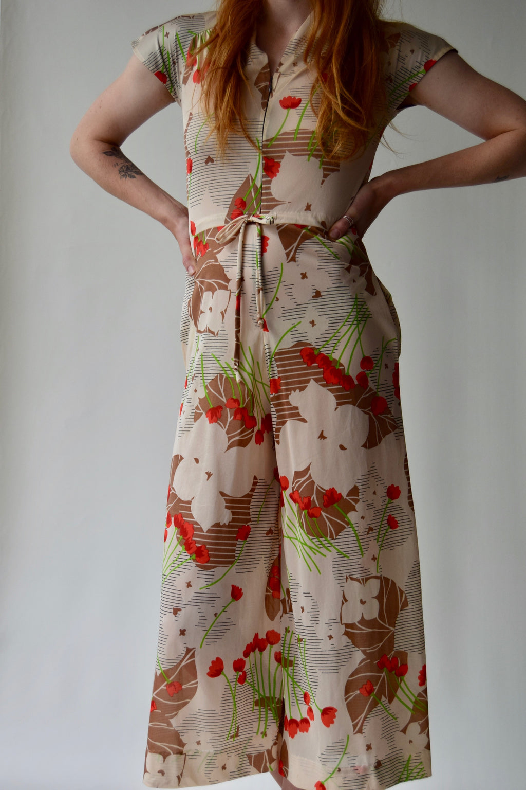 70's Poppy Wide Leg Culotte Jumpsuit