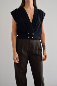 Pleated Lambswool Double Breasted Cardi Vest