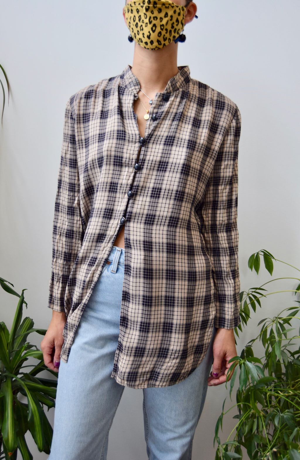 Rayon Plaid Button Up