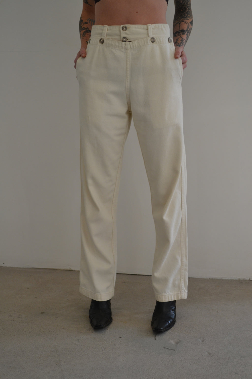 High Waisted Ivory Wide Leg Trousers FREE SHIPPING TO THE U.S.