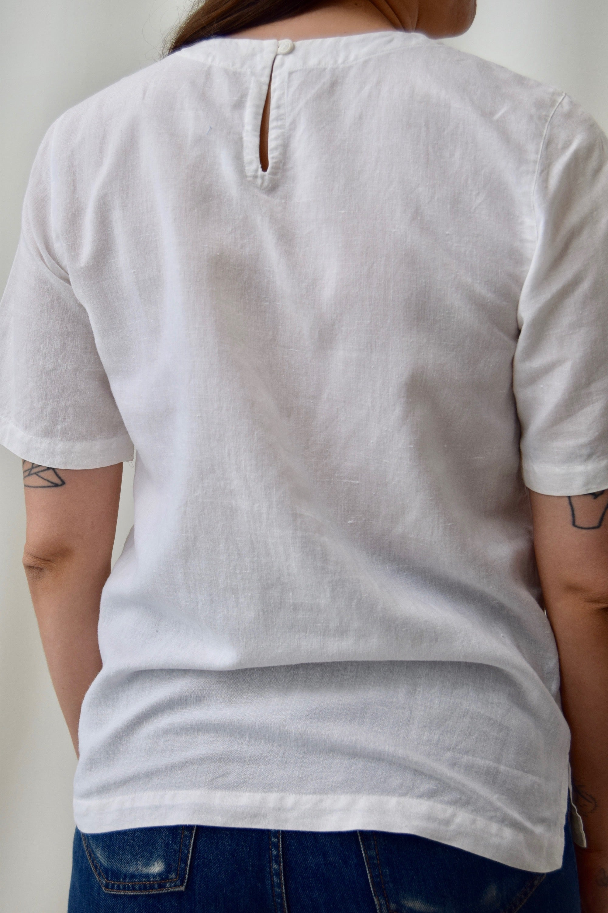 White Linen Blend Pocket Tee