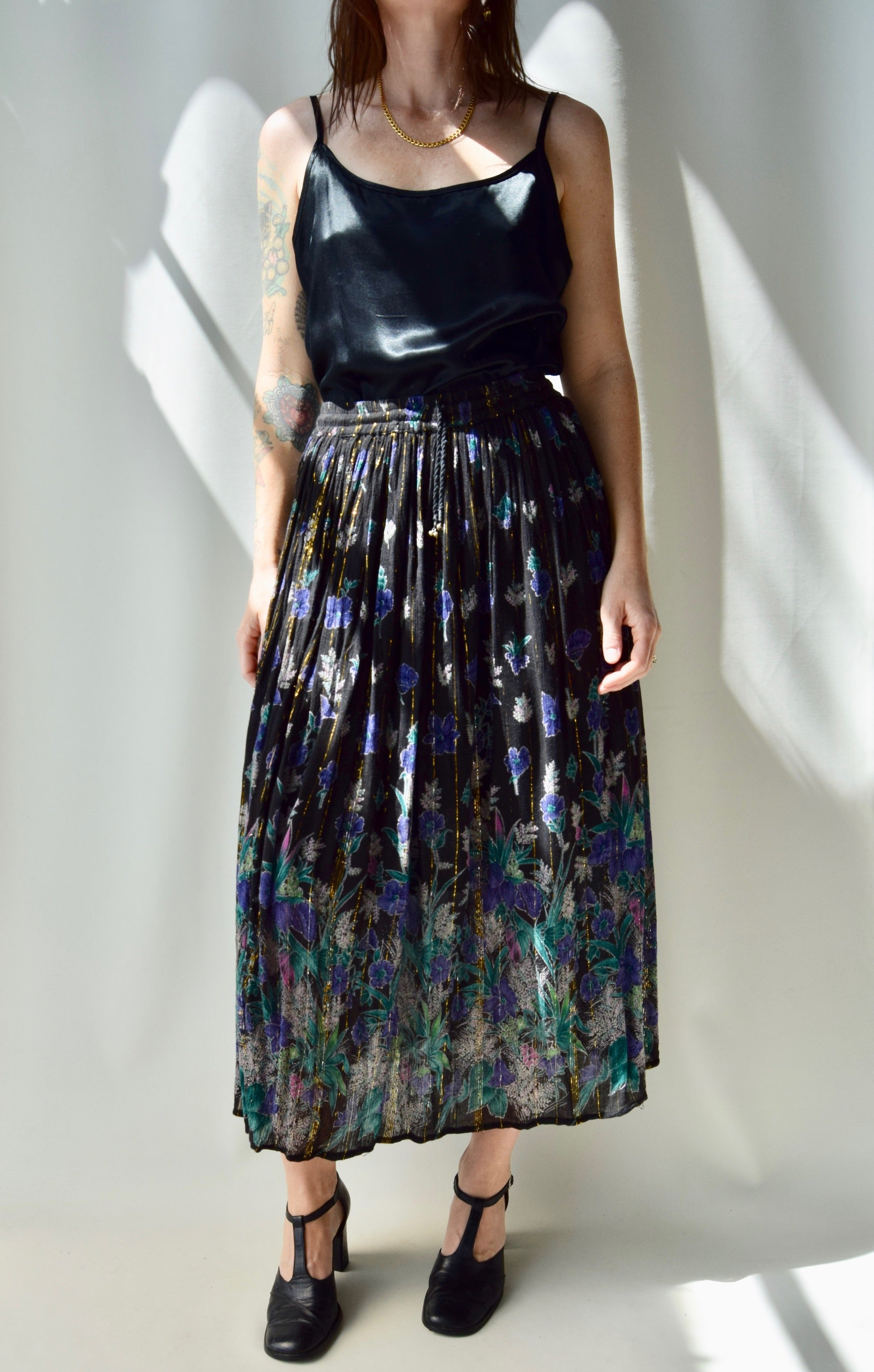 Floral Skirt With Metallic Thread