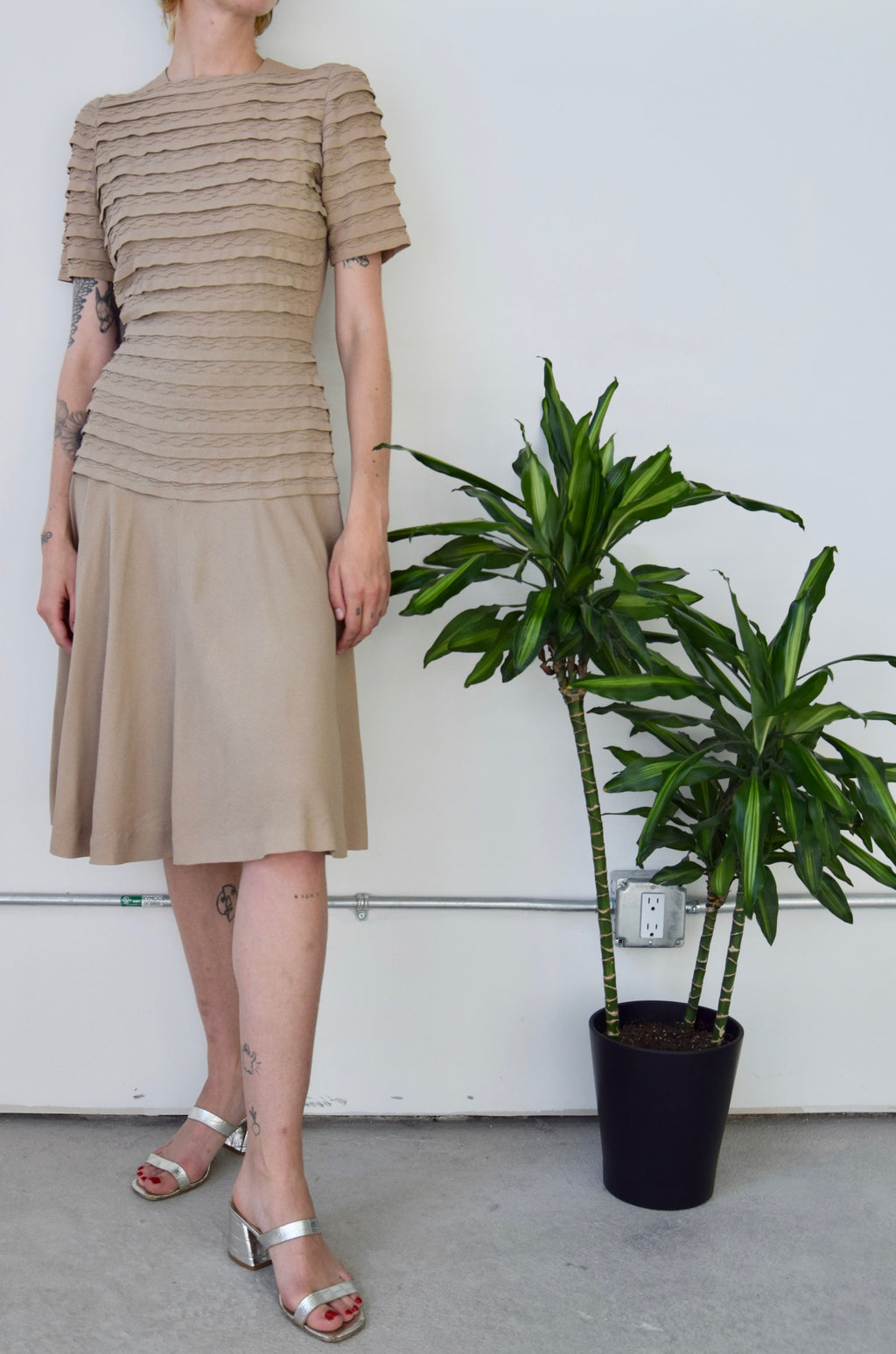 Forties Drop Waist Oat Crepe Dress
