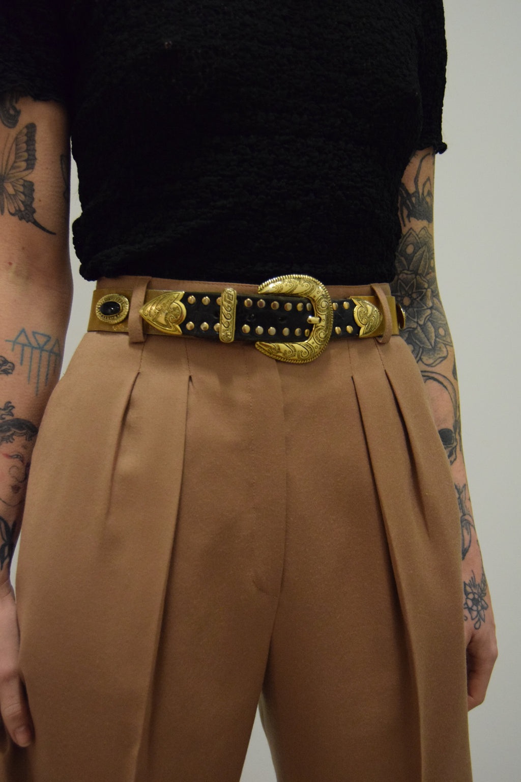 Vintage 90's Italian Gold Chain Western Belt FREE SHIPPING TO THE U.S.