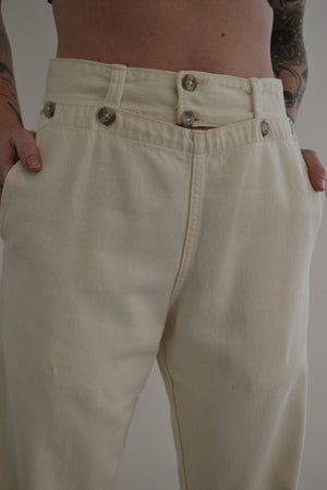 High Waisted Ivory Wide Leg Trousers