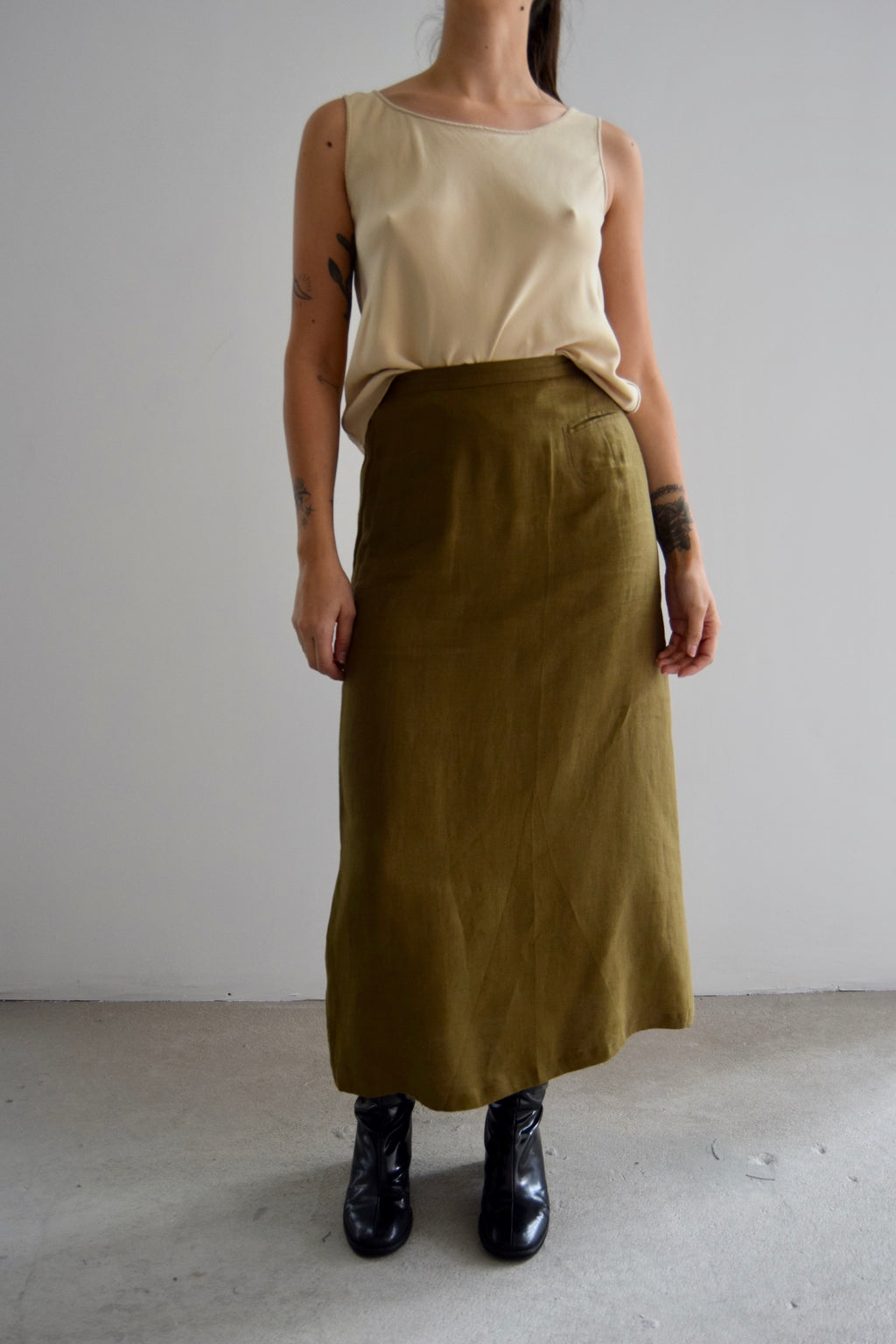 Vintage Olive Linen Long Skirt FREE SHIPPING TO THE U.S.