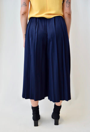 Navy Wool Pleated Culottes
