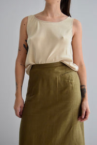 Vintage Silk Plain Beige Tank Top