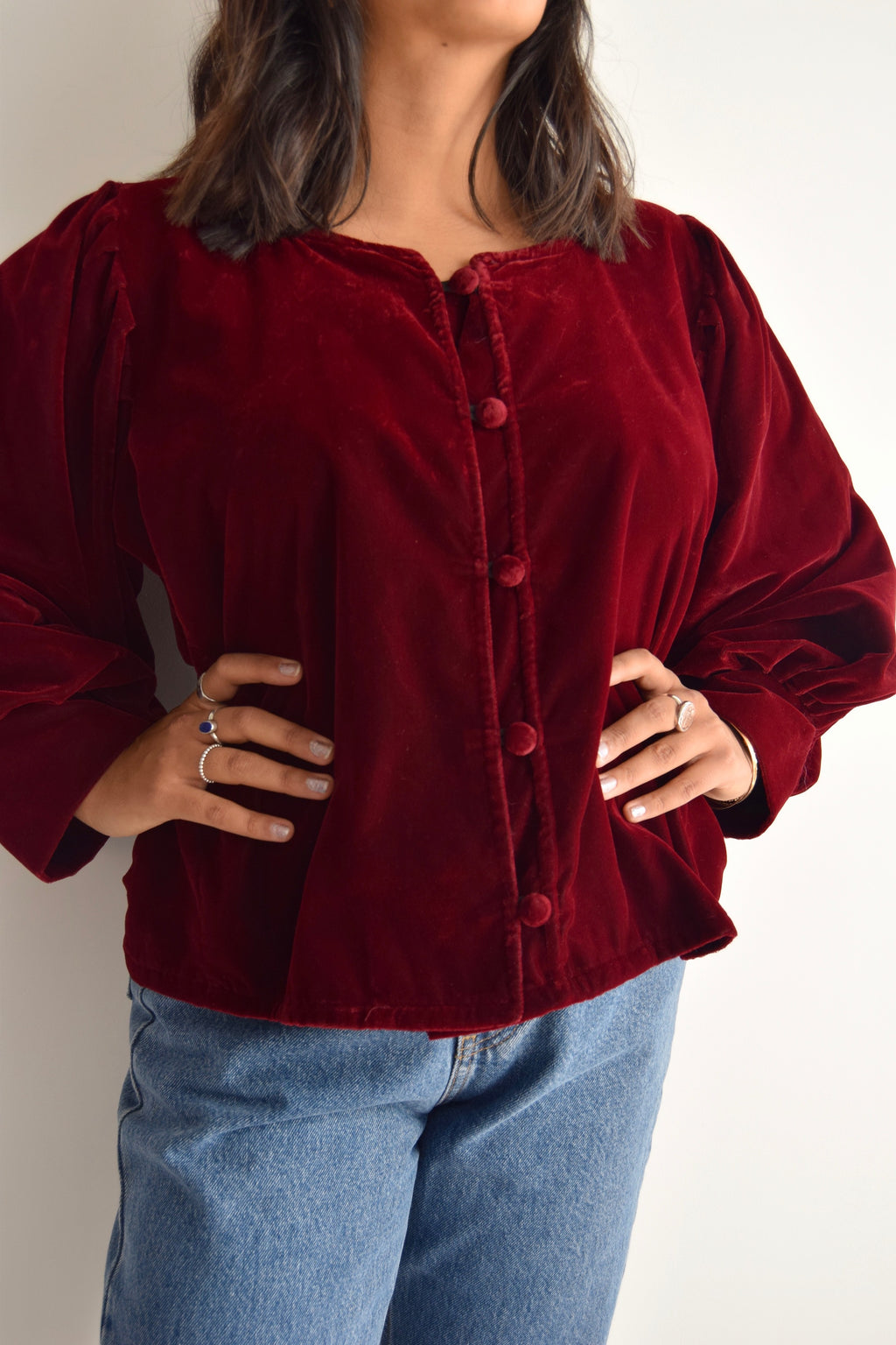 Velvet Beet Red Bishop Sleeve Top FREE SHIPPING TO THE U.S.