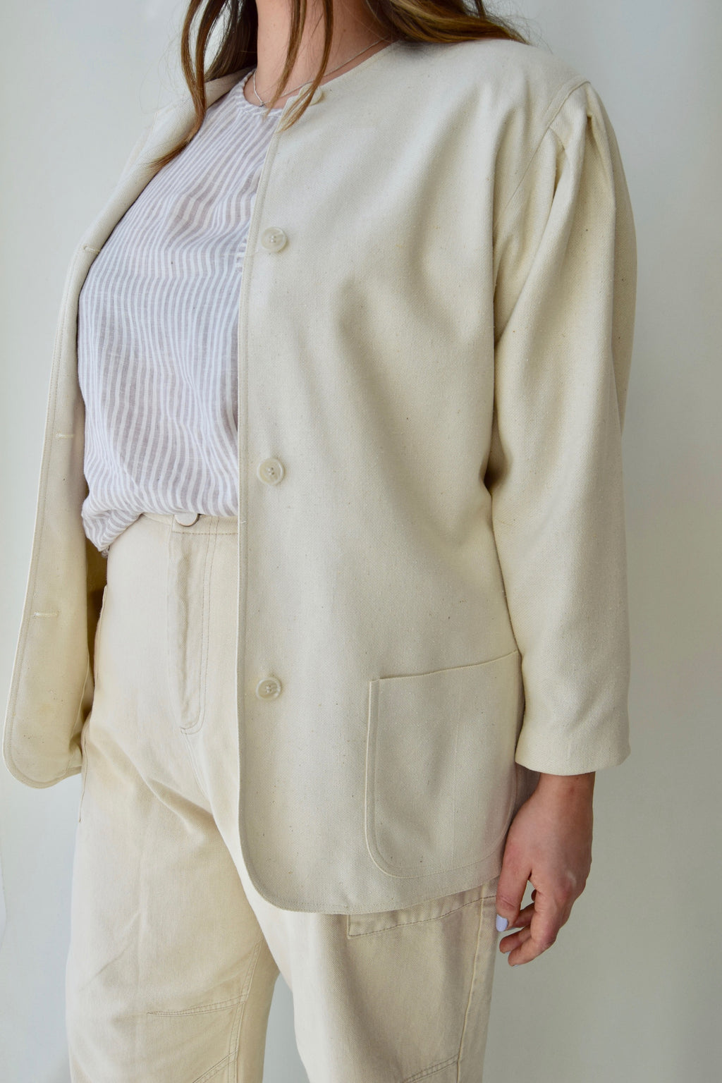 Bone Raw Silk Dior Blazer