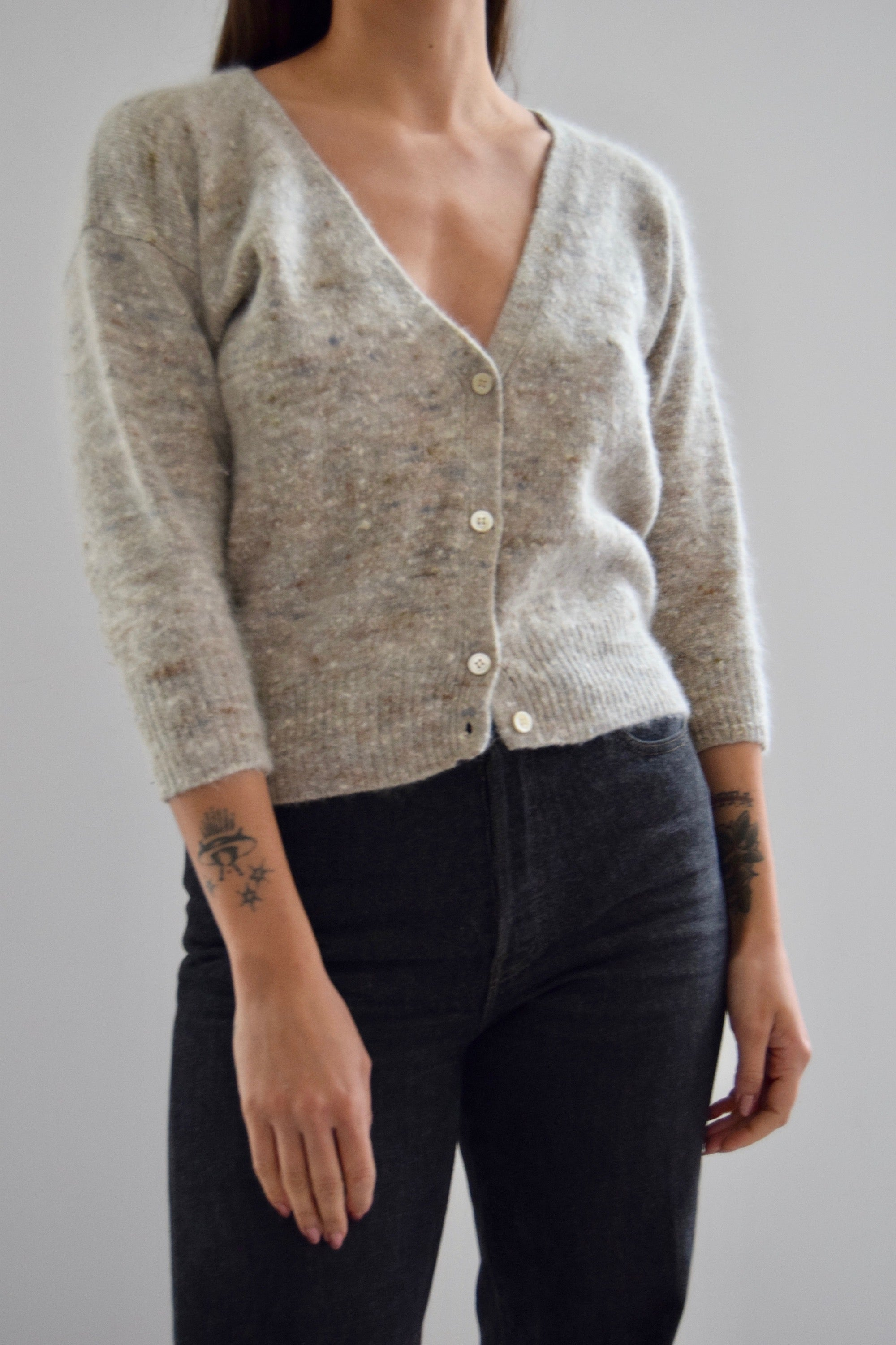 Pebbled Oatmeal Angora Cardi Sweater
