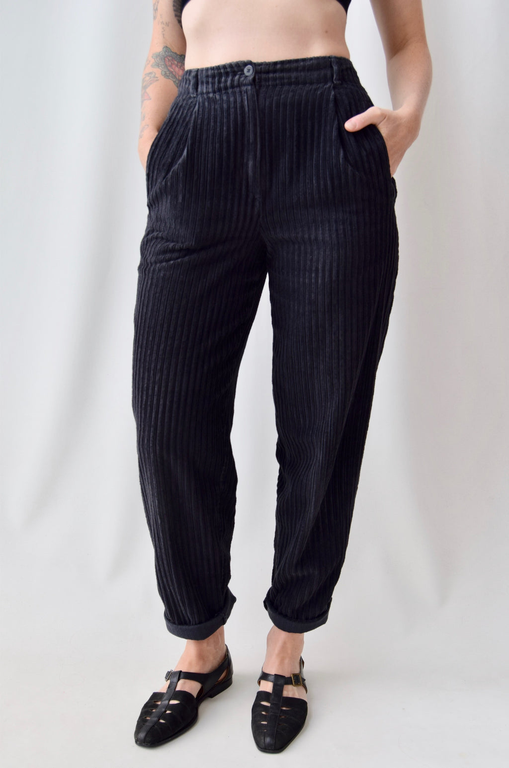 St Michael Black Corduroy Trousers