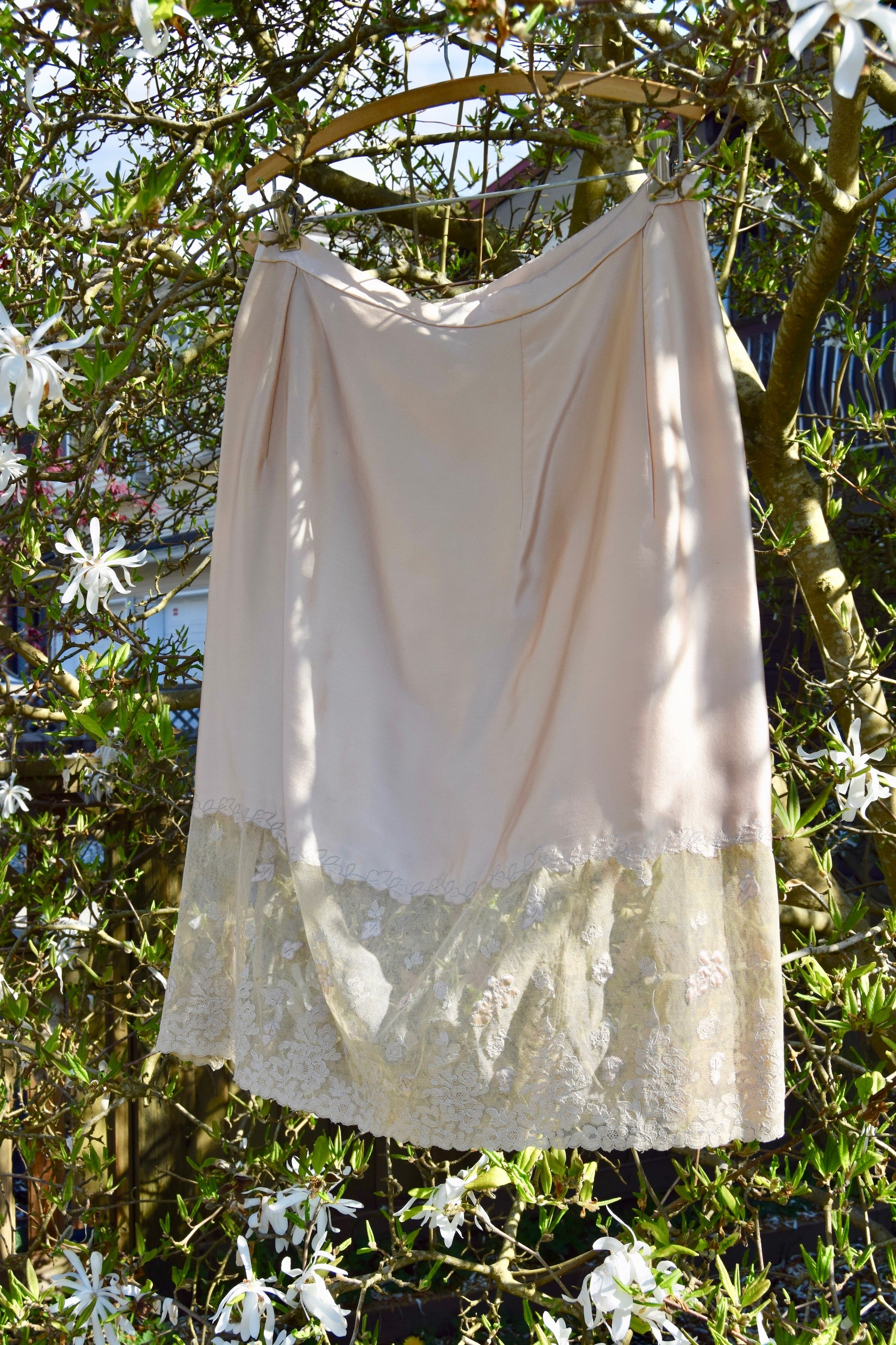 Antique Silk And Lace Skirt Slip