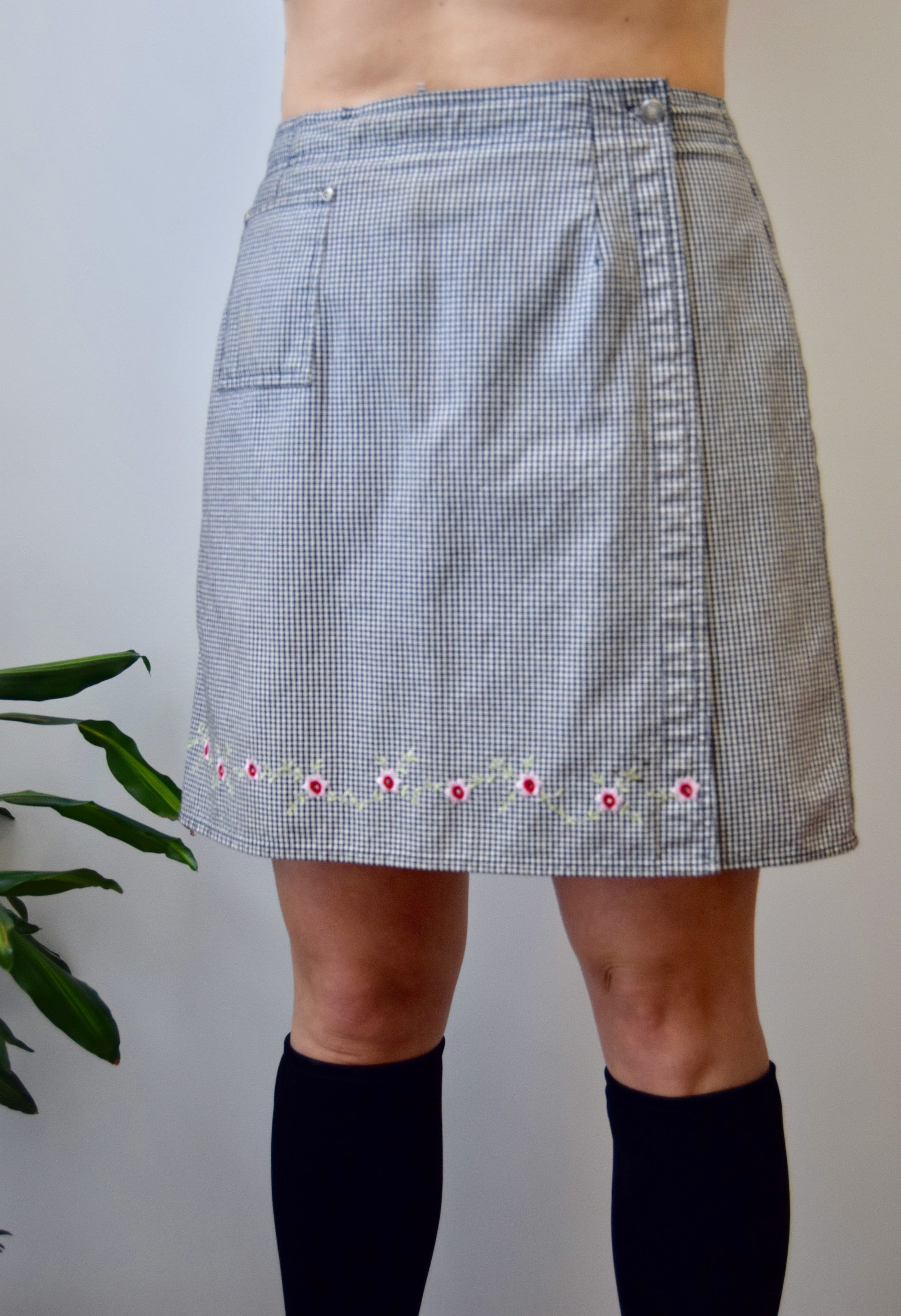 Cotton Gingham Skort