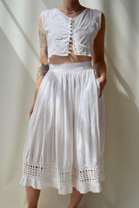 Crisp Indian Cotton Two Piece Skirt Set