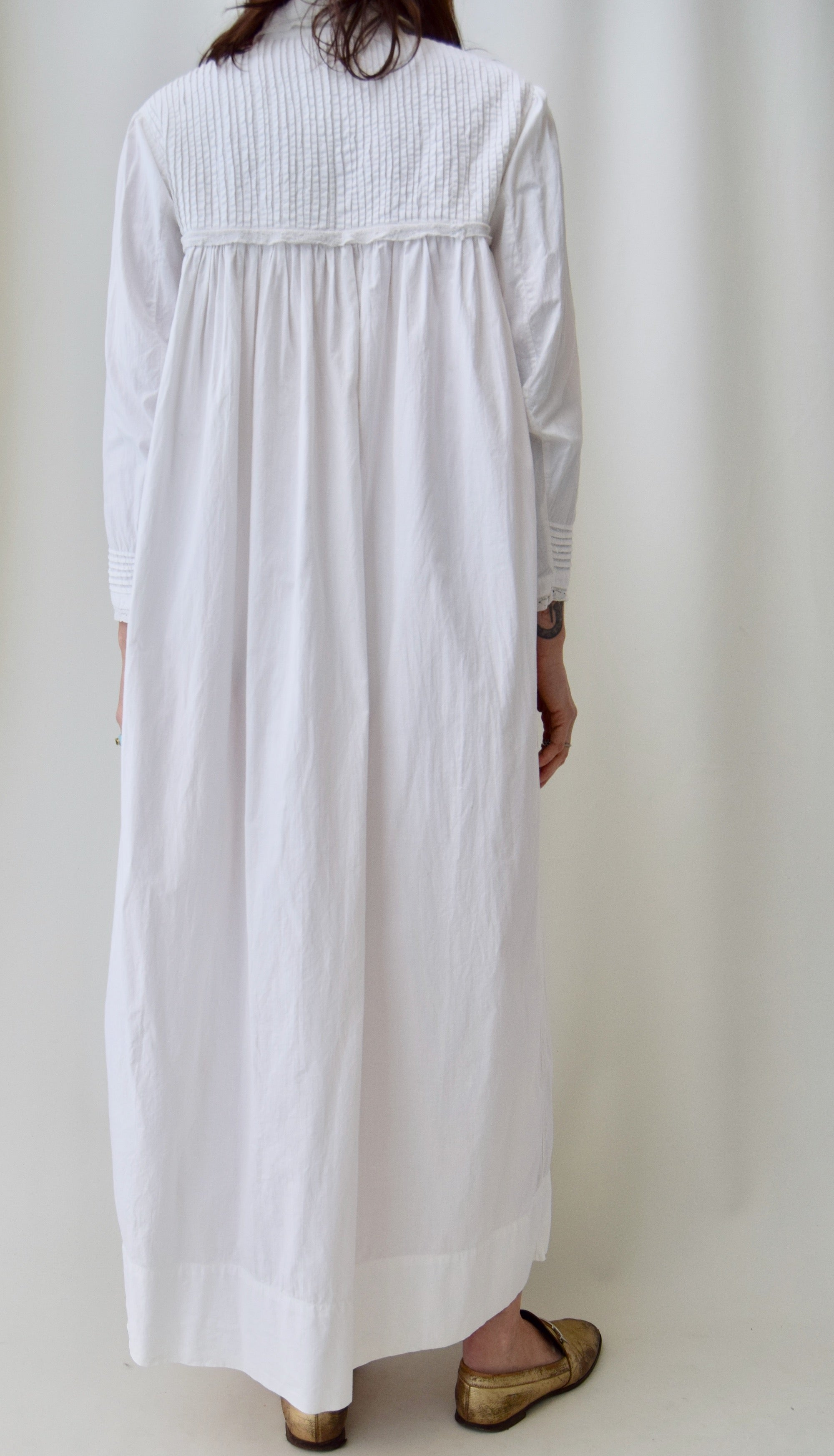 Antique Cotton Pin Tucked Nightgown House Dress