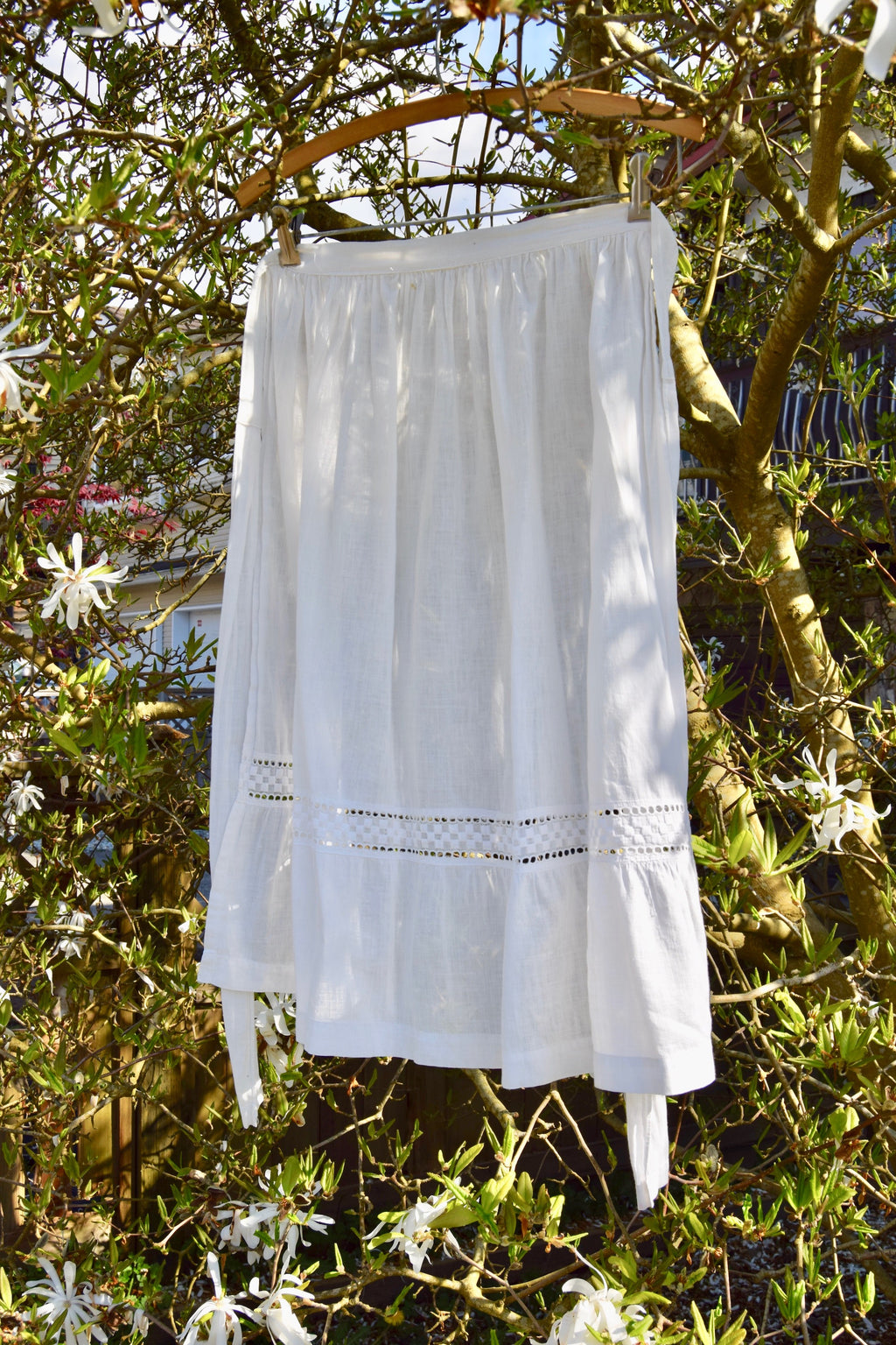 Antique White Cotton Apron