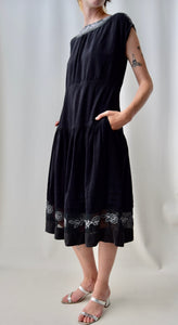 80's Indian Cotton Black Summer Dress