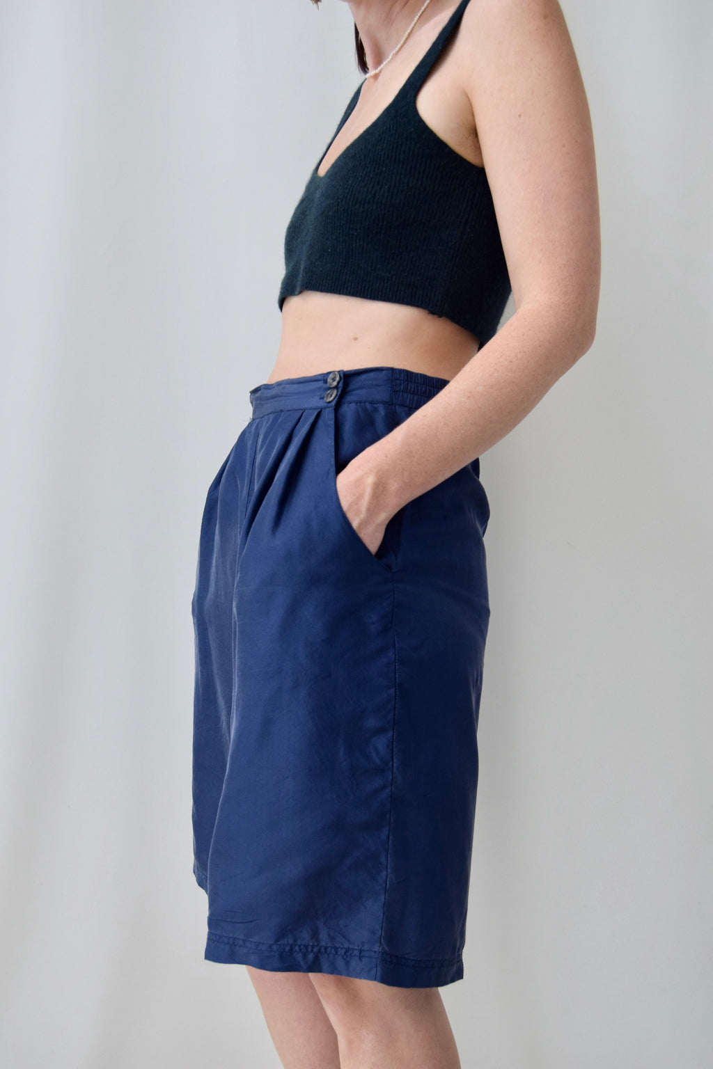 Easy, Breasy, Blue Silk Trouser Shorts