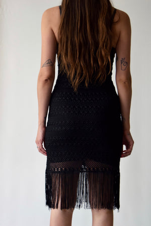 Black Sexy Crocheted Fringe Dress