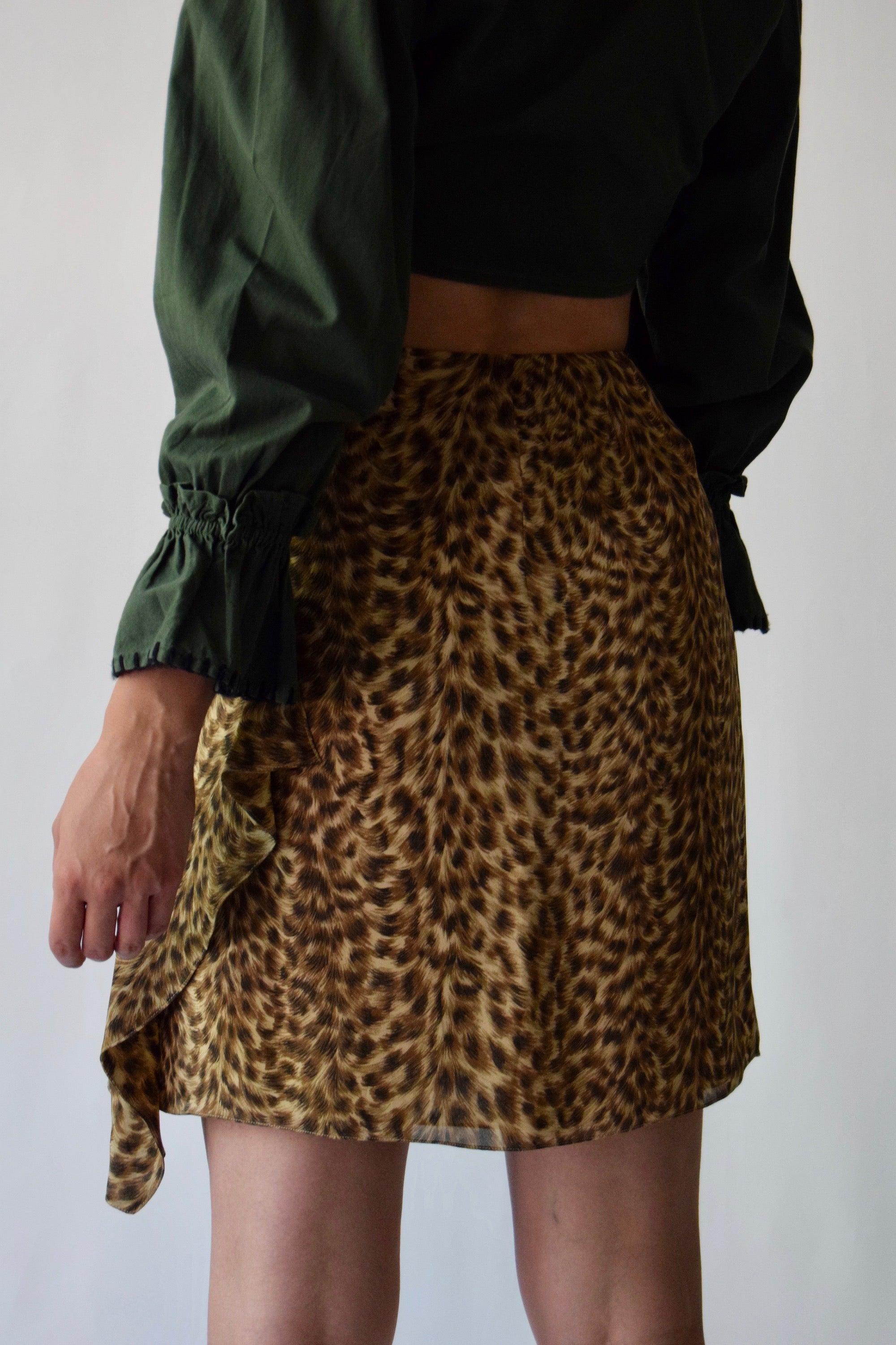 Emanuel Ungaro Silk Cheetah Print Skirt FREE SHIPPING TO THE U.S.
