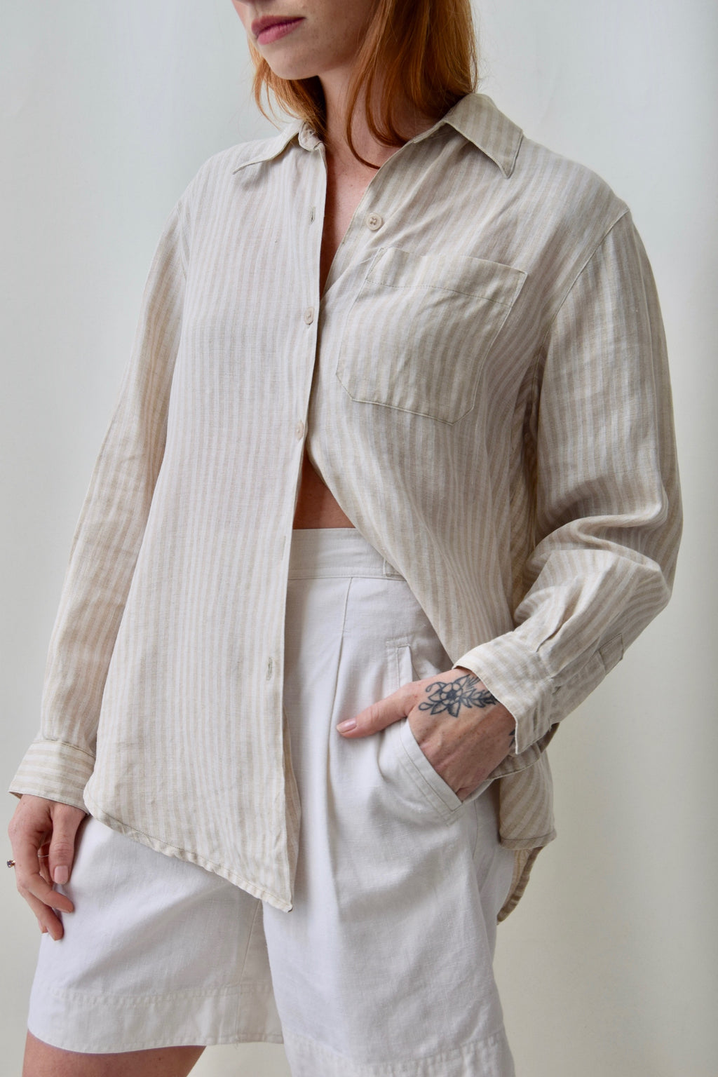 Neutral Stripe Linen Top