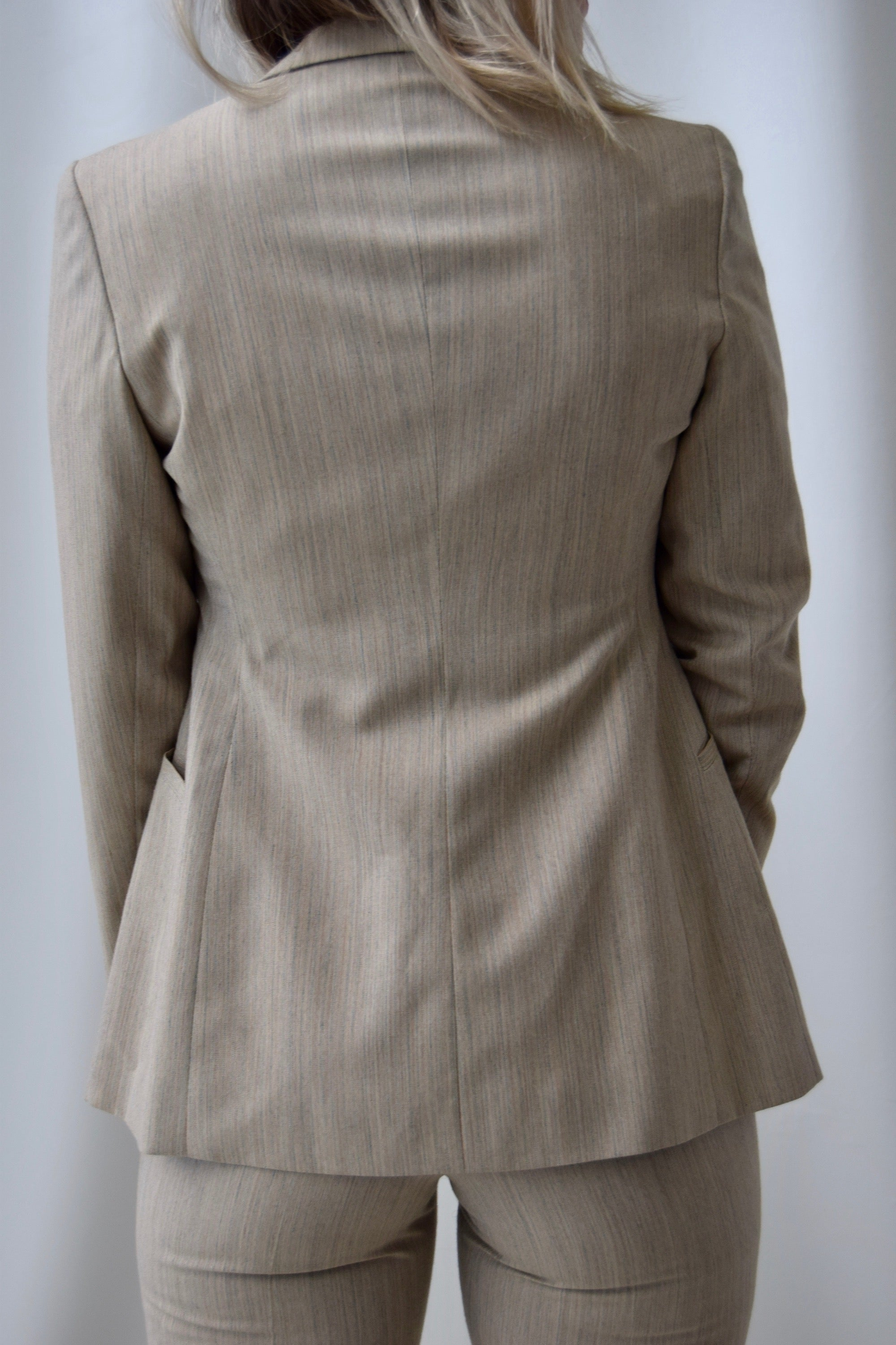 1970's Three Piece Tan Pin Stripe Ladies Wool Suit