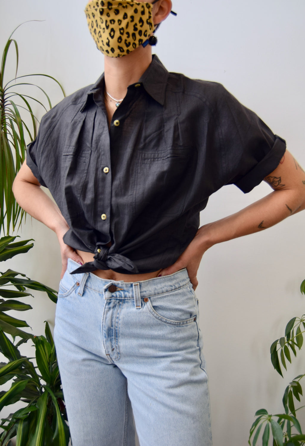 Pleated Ramie Button Up