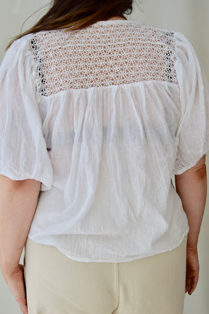 Vintage Pastel Detailed Gauze Cotton Top