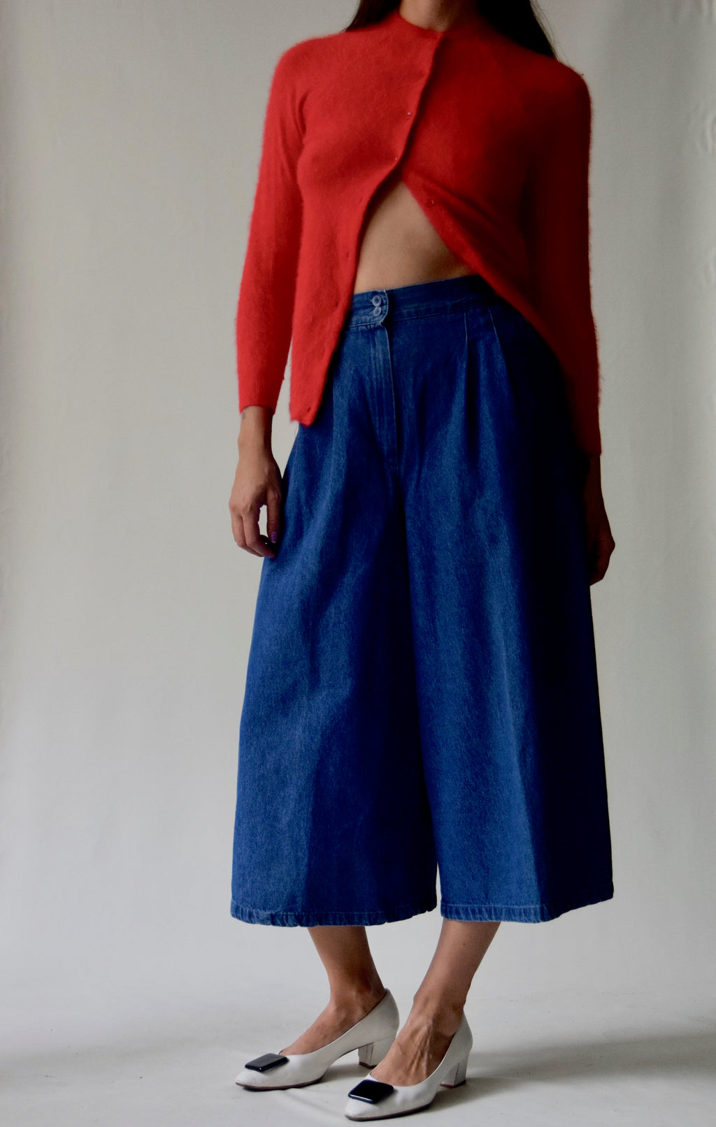 High Waisted Denim Culottes