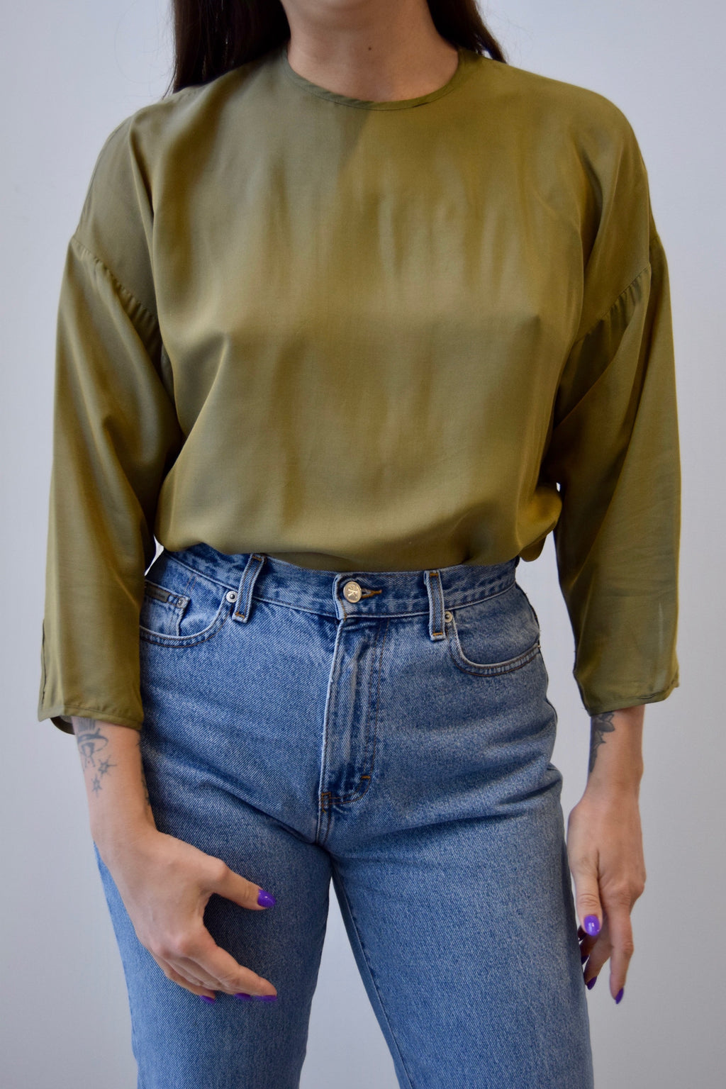 Max Mara Olive Silk Top FREE SHIPPING TO THE U.S.
