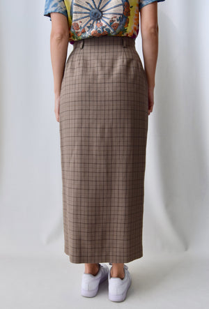 Cocoa Plaid Wool Wrap Skirt