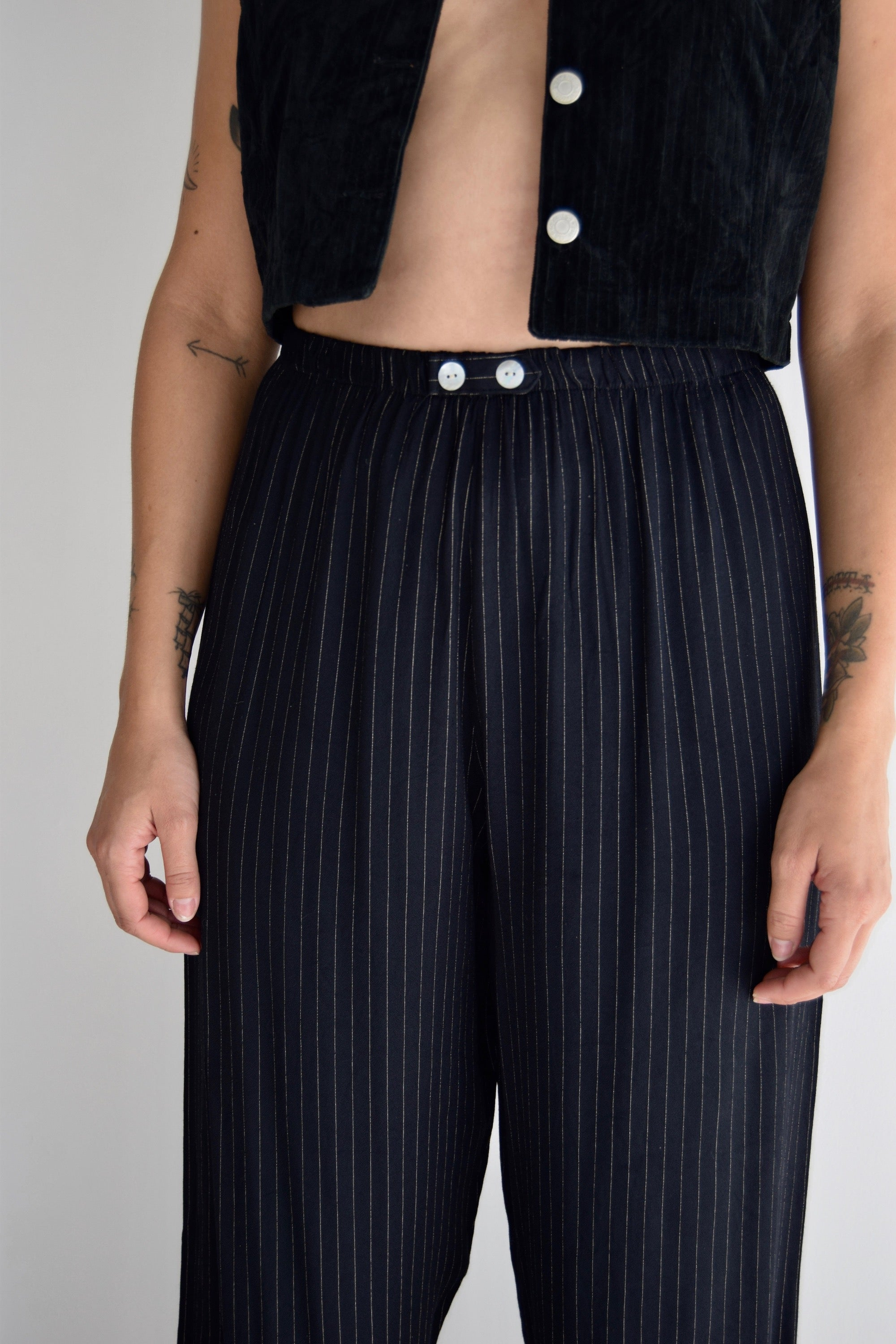 Black and Buff Pinstriped Rayon Trousers