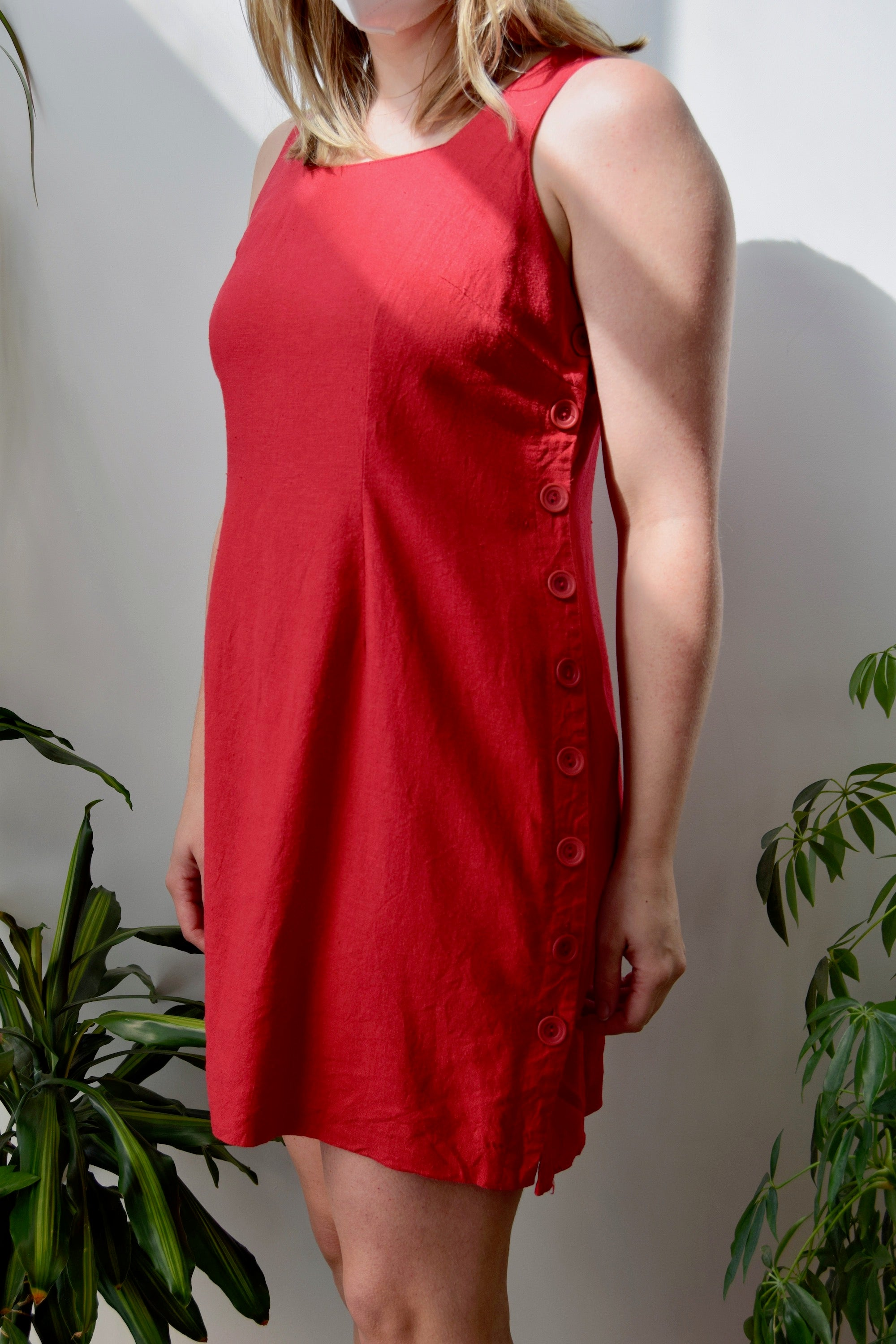 Cherry Linen Summer Dress