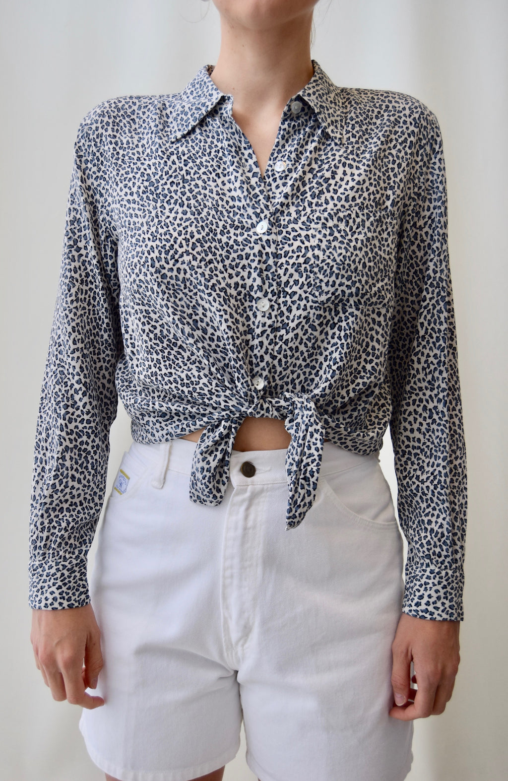 Snow Leopard Silk Top