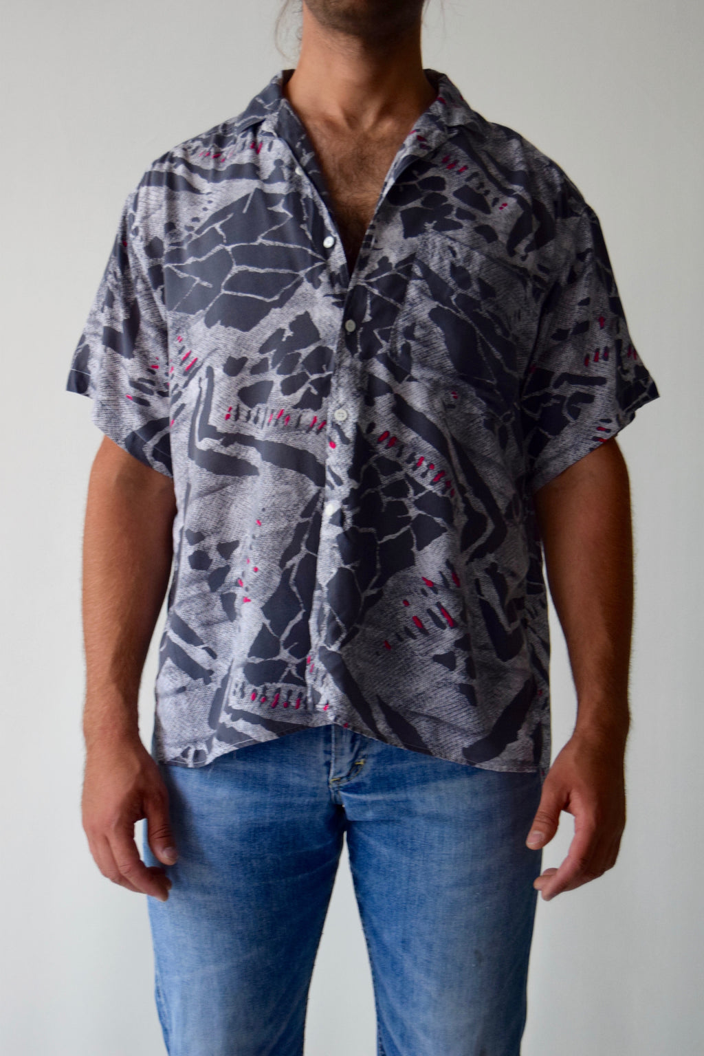 Vintage 80's ESPRIT Sport Men's Rayon Button Up