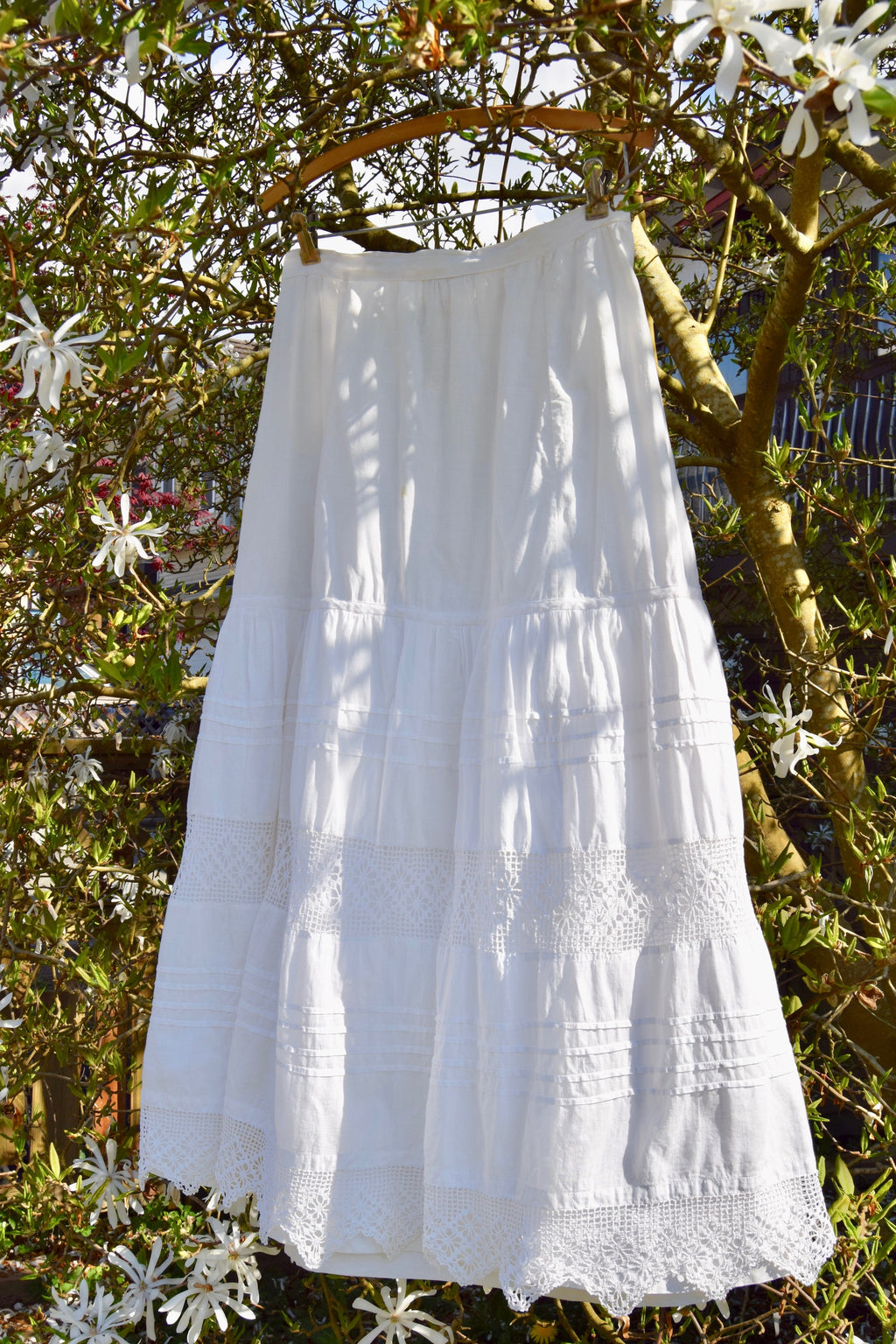 Antique Edwardian Cotton And Crochet Petticoat Skirt