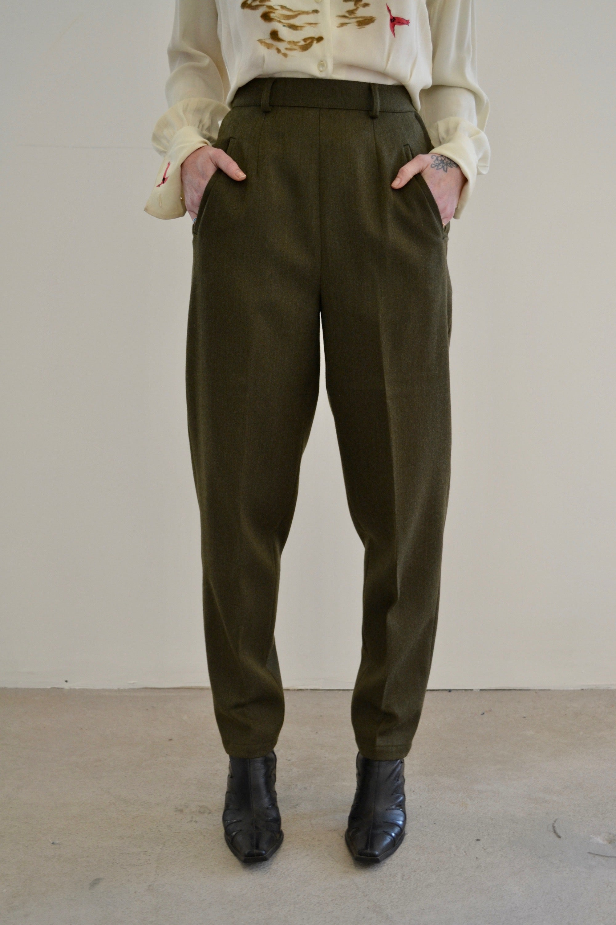 Military Green Wool Max Mara Trousers