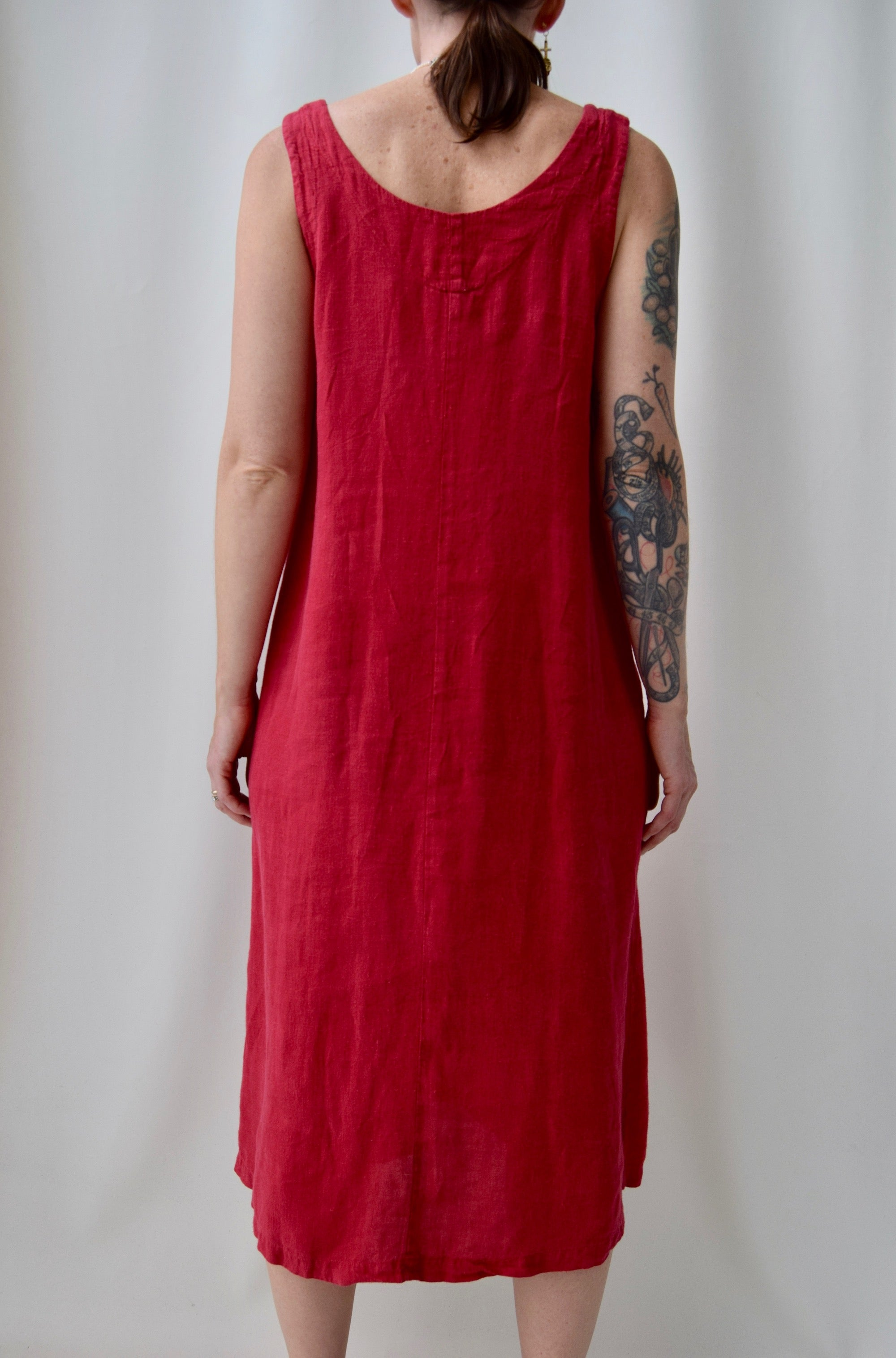 Ruby Red Linen Market Dress